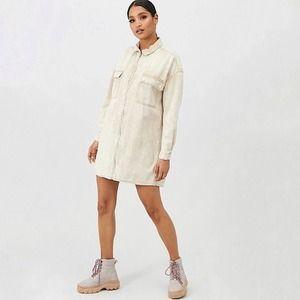 Missguided Utility Pocket Zip Denim Shirt Dress